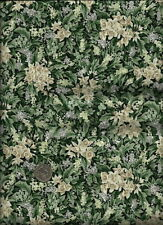 """""""Laurens Flowers II"""" Print green cream taupe on drk forest green Fabric by RJR"""