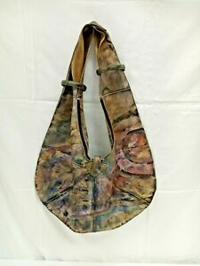 Jane Yoo Extra Large Hand Painted And Signed Leather Hobo Bag By Jane Yoo