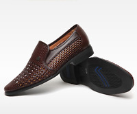 Mens Hollow Out Breathable Sandals Formal Dress shoes Weave Slip On Loafers Size
