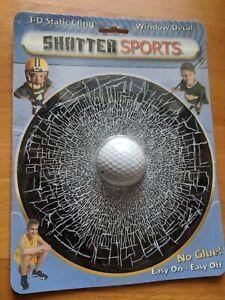 Golf Ball 3D Window Cling Broken Window Decal Static NEW Sealed