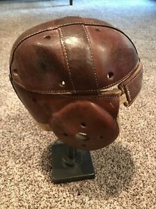 Antique Vintage Brown Leather Football Dog Ear Helmet