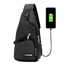 Mens Sling Bag Anti Theft USB Charging Chest Pack Shoulder Bag Crossbody Bag
