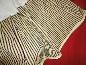 "RALPH LAUREN COLD SPRING BLACK CREAM TICKING STRIPE QUEEN BEDSKIRT 15"" SPLIT"