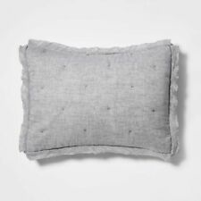 Threshold Linen Blend Tufted Gray STANDARD Pillow Sham