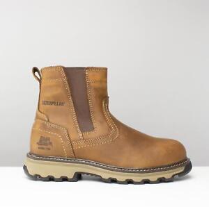 Cat  PELTON Mens Leather S1 P HRO SRA Dealer Steel Toe Safety Boots Beige