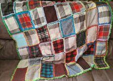 Vintage Handpieced Folk Art Primitive Wool Color Block Patchwork Blanket Defects