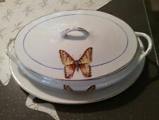 "Antique HR Wyllie China Covered Vegetable Bowl and 11.75"" Platter Butterfly"