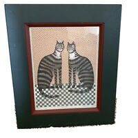 """Country Cats """"Two Cats""""  Framed Print Kitty Folk Art Signed and Numbered Vintage"""