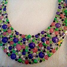 Purple Lucite, Austrian Crystal Silvertone Bib Collar Necklace (18 in)