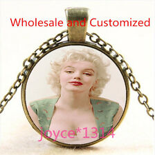 Marilyn Monroe Cabochon bronze Glass Chain Pendant Necklace TS-4910