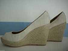 COACH Shoes MILAN 9.5 Wedges Open Peep Toes GOLD LINEN Platforms Heels NEW