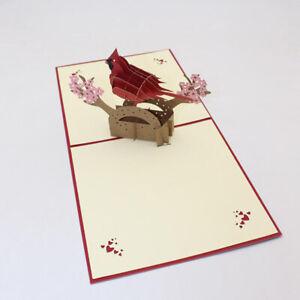 3D Antlers Birds Room Anniversary Valentine Handmade Greeting Cards Postcard Z