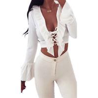 Womens Long Sleeve Chiffon Shirts OL Work Office Business Casual Tee Blouse Tops