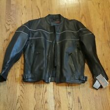 Men's Heavy Duty Black 100% GENUINE Leather Biker Jacket Size XL new with tags