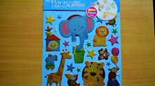 New 3D Wall Glittery Stickers Decoration Craft Zoo Animals Tiger Lion UK Seller
