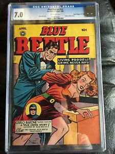 BLUE BEETLE #55 CGC FN/VF 7.0; OW; scarce; classic cheesecake cover  D Copy!