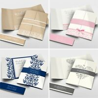 Gatefold Wedding Invitations with Belly Band + Free Envelopes #043