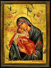 Handmade Wooden Greek Orthodox Icon Painting Canvas Virgin Mary Jesus Christ M16