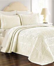 NEW Martha Stewart Bedding Flowering Trellis Cotton QUEEN Bedspread Ivory H5078