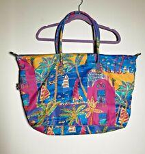 Vintage Ken Done Tote Beach Bag Multi Color Tropical Print Sailboat Palm Trees