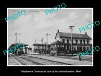 OLD LARGE HISTORIC PHOTO OF MIDDLETOWN CONNECTICUT THE RAILROAD STATION c1900