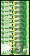 South Africa 10 Rand, 2015 - 2016, UNC, 10 Pcs LOT, Omron Circles,P-138,NEW SIGN
