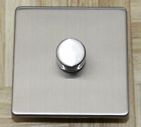 Trailing Edge LED dimmer switch 2 gang 2 way flat brushed chrome black nickel
