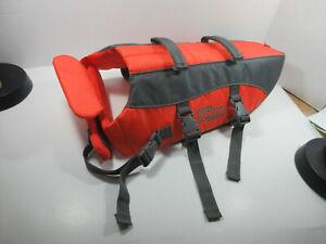 Outward Hound dog life jacket preserver orange size medium about 30-60 lbs.