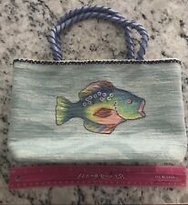 Usindo Handcrafted Fish Purse In Aqua, Cotton Drawstring Liner 11in Long By 6.5