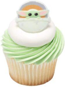 24 Count The Mandalorian Baby Yoda Grogu Star Wars Cupcake Toppers Rings