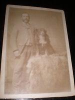 Cdv cabinet old photograph man and dog by Wright at Shrewsbury c1890s