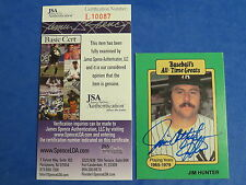 JIM CATFISH HUNTER SIGNED CARD ~ ALL-TIME GREATS ~ JSA Cert L10087 ~ AUTOGRAPH