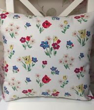 "Cath Kidston Cream Paradise Fields Fabric 16"" Cushion Cover Blue Floral Last Few"