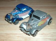 (2) Hot Wheels 1979 Thailand Malaysia '34 FORD COUPES Hot Rods Stars & Stripes