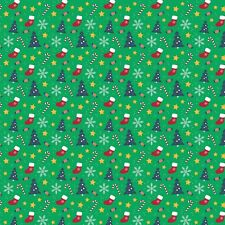 Printed Bow Fabric A4 Christmas trees socks candy cane CM14 Make glitter bows