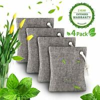 Air Purifying Bag - Bamboo Charcoal Deodorizer Bags - 4 Pack, Fragrance Free