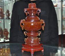 "14""China Natural red agate Hand carved Double-deck flower Incense burner Censer"