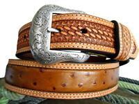 Nocona Western Mens Belt Leather Ostrich Print Cognac N24580153