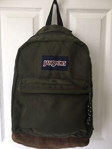 Vintage Jansport Leather Suede Bottom Backpack Forest Green Lightweight