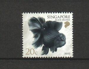 SINGAPORE 2021 GOLDFISH 20 CENTS BLACK ORANDA 2021D 3RD REPRINT 1 STAMP IN MINT