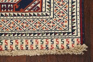 Navy Blue 2x3 Geometric Traditional Bokhara Oriental Area Rug Hand-knotted Wool