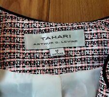 Tahari Arthur S. Levine Womens Plaid Boucle Tweed Blazer Sz 16 Pink/Black/White