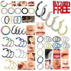 Surgical Stainless Steel Nose Ring Set Fake Hoop Septum Hinged Clicker 6mm -12mm