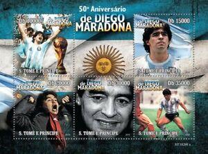 Sao Tome & Principe Football Stamps 2010 MNH Diego Maradona Sports People 5v M/S