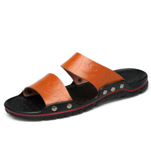 Mens round toe summer sandals flat heel beach comfortable slippers chic shoes