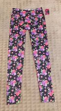 SOFRA DESIGNER FOOTLESS LEGGINGS-BLACK WITH FLORAL PRINT STYLE #EXP900 FREE SIZE