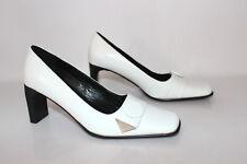 VINTAGE Zapatos ANDRE Piel Sintética Blanco Forrado cuero T 39 NUEVO
