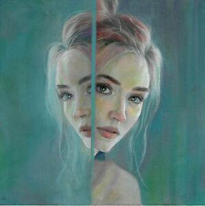 original painting 30 x 30 cm 359GK art samovar modern oil canvas woman Signed