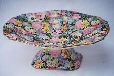 """Royal Winton Grimwades Pedestal Footed Plate Compote """"Balmoral"""" Chintz c.1950's"""