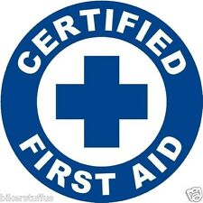 CERTIFIED FIRST AID HELMET STICKER / HARD HAT STICKER ROUND